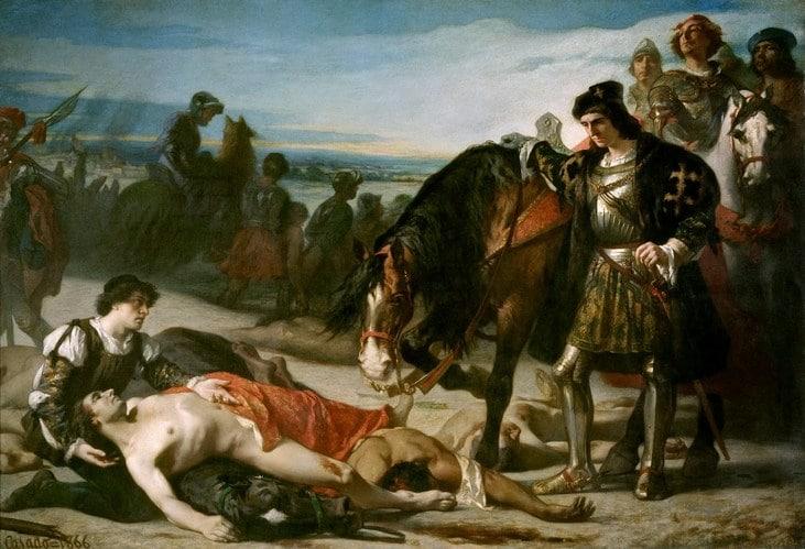Gonzalo Fernández de Córdoba ante el cadáver del duque de Nemours
